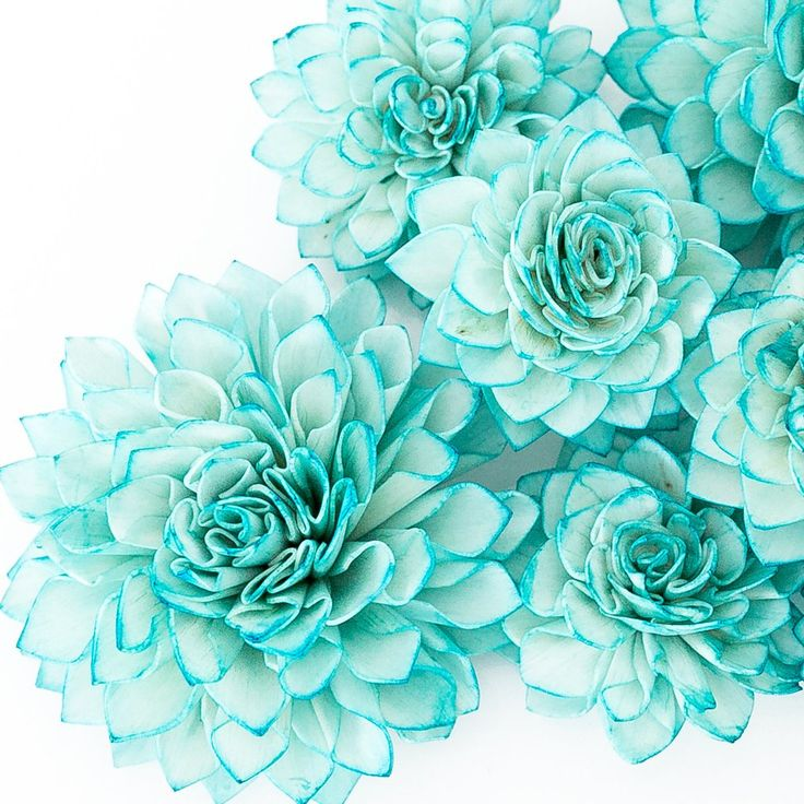 10 Teal Wooden Flowers, Wedding Decorations, Wedding ...