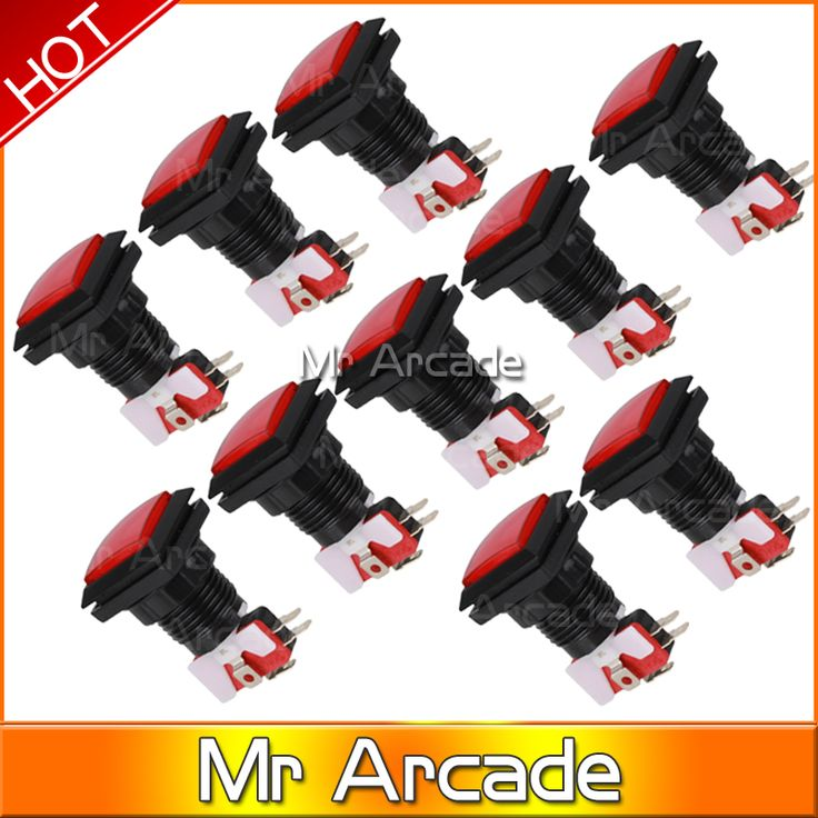 10PCS Square Arcade Push Button Switch 33mm Red/Black Leds firing button LED light console12 vled large game machine accessories #Affiliate