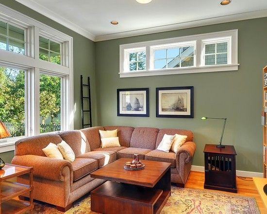Sage Green Living Room Ideas to Inspire You: Exciting Sage Green Living Room Ideas With Brown Sofa Wooden Coffee Table Side Table Art Galler...