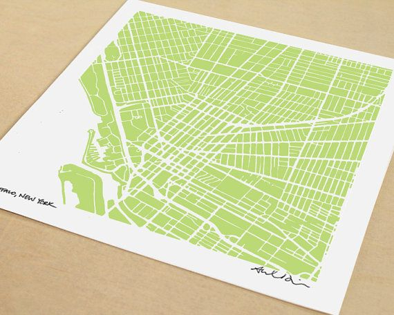 Buffalo Map HandDrawn Map Print of Buffalo New York by SaltyLyon, $20.00