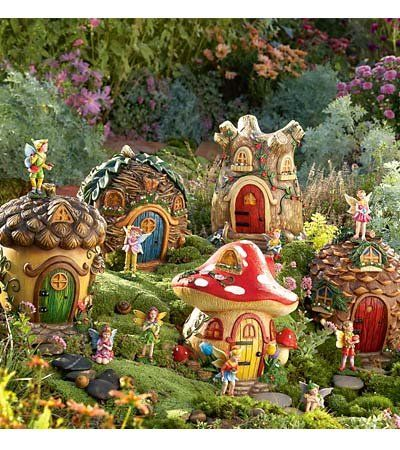 Gnome Garden Ideas tree stump gnome house gnome house in other town Fairy Garden Plants Fairy Village Special 5 Fairy Houses Fairy Set