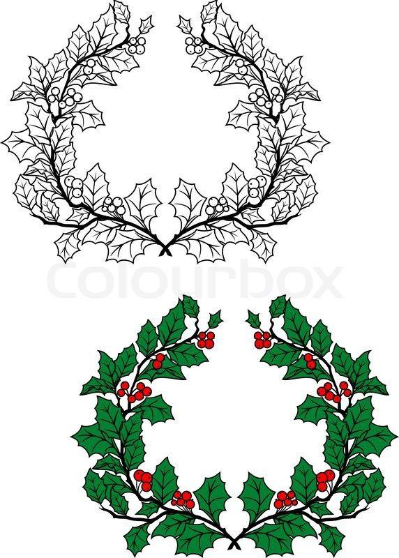 Stock vektor af 'Jul kristtorn krans'