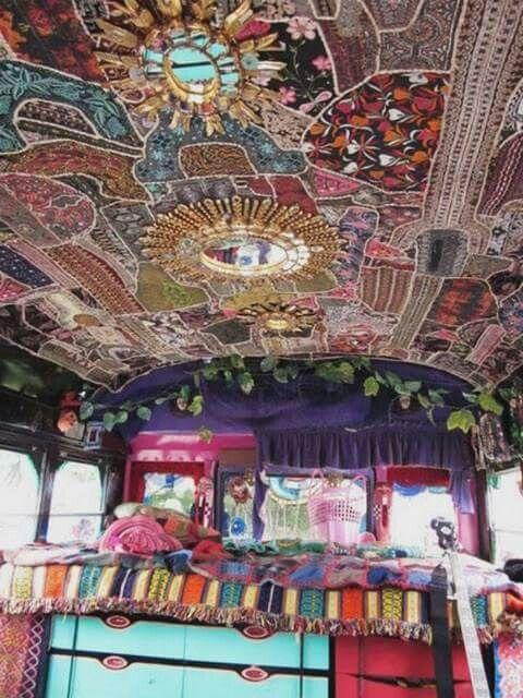 ☮ American Hippie Bohéme Boho Lifestyle ☮ Gypsy Caravan interior