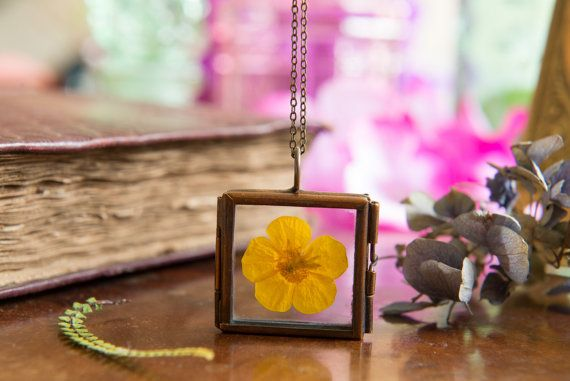 Real Wildflower PendantButtercup by LomharaJewellery on Etsy
