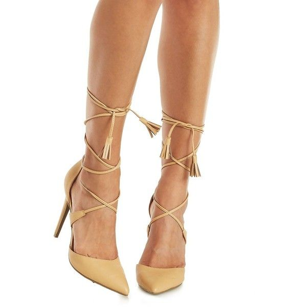 Charlotte Russe Nude Lace-Up Pointed Toe Pumps by Charlotte Russe at... ($36) ❤ liked on Polyvore featuring shoes, pumps, nude, charlotte russe shoes, lace up shoes, pointy-toe pumps, vegan leather shoes and nude court shoes