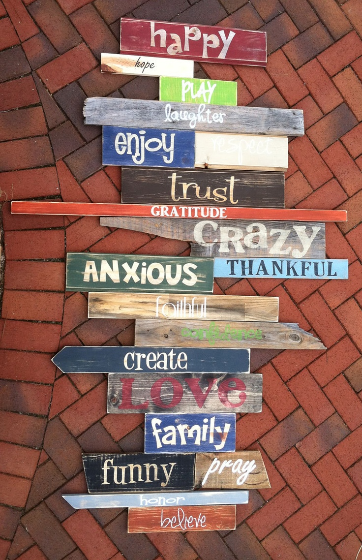 Custom order for a customer we just finished - Wall of Words - distressed, painted wooden plank signs. $175.00, via Etsy. We can help you create your own wall of words