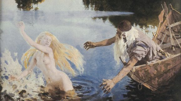 "Aino is a figure in the Kalevala. It relates that she was the beautiful sister of Joukahainen.  Aino's brother, having lost a singing contest to Väinämöinen, promised Aino's ""hands and feet"" in marriage if Väinämöinen would save him from drowning in the swamp. Aino did not want to marry such an old man.  Rather than submit to this fate, Aino drowned herself. However, she returned to taunt the grieving Väinämöinen as a salmon."