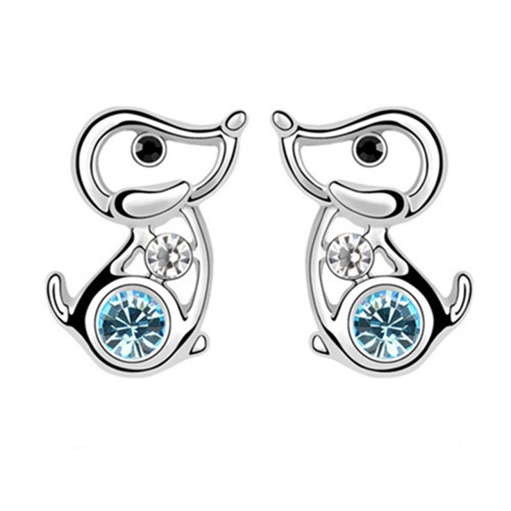 Silver Tone Lovely Dog Sea Blue Swarovski Elements Crystal Stud Earrings Fashion Jewelry for Girls: