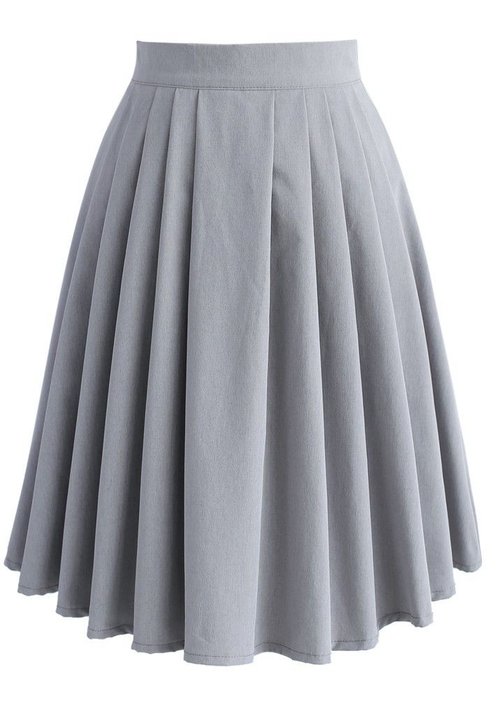 Channel your inner '60s school girl with this plated midi skirt in a soft, grey hue. Tuck a button-down blouse into the garment and step out with pointed toe heels for an easy, stylish look.   - Subtle pleat from waist - Concealed back zip closure - Lined - 100% polyester - Machine washable  Size(cm)   Length   Waist XS                    56             62     S     &nbs...
