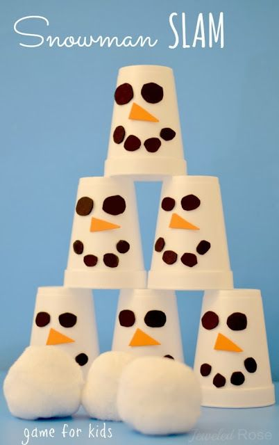"snowman slam game... another cute easy idea. Also, I can dig out our ""snowballs"" for a snowball fight!"