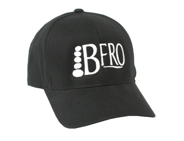 BFRO Logo HAT (Finding Bigfoot) Flex Fit 6 Panel Fitted Cap. Black - S/M, L/XL