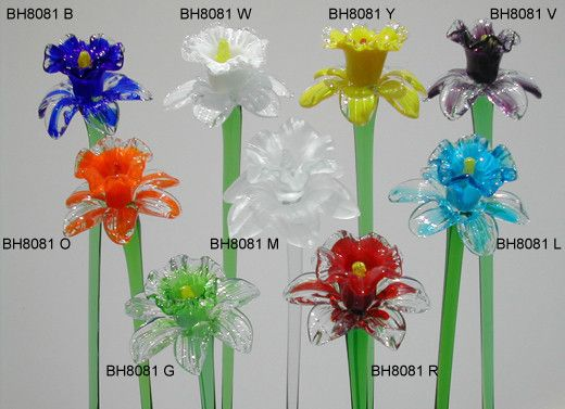 """Each of our flowers in our entire collection is a One-of-a Kind, Handmade piece,. They feature a transparent pure green stem that extends the overall length to approximately 20"""" The artist that makes"""