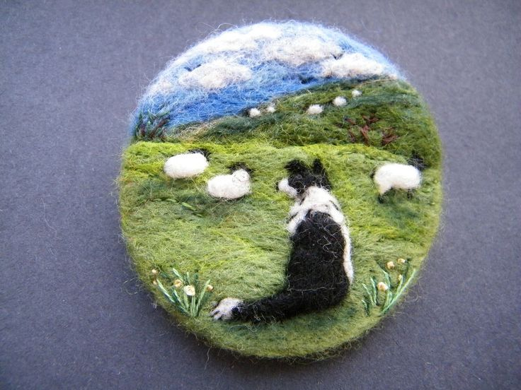 Hand Made Needle Felted Brooch/Gift - Gwen and her Hills by Tracey Dunn