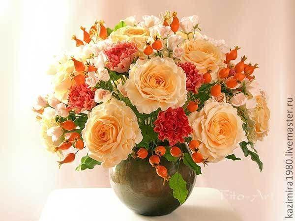 Купить Букет-подарок. Цветы из полимерной глины - оранжевый, рыжий, интерьерное украшение, интерьерная композиция