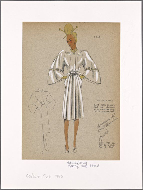 White Mandarin coat 1940 NYPL