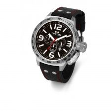 TW Steel Canteen Chronograph S/Steel With Black Leather Strap Watch TW11R