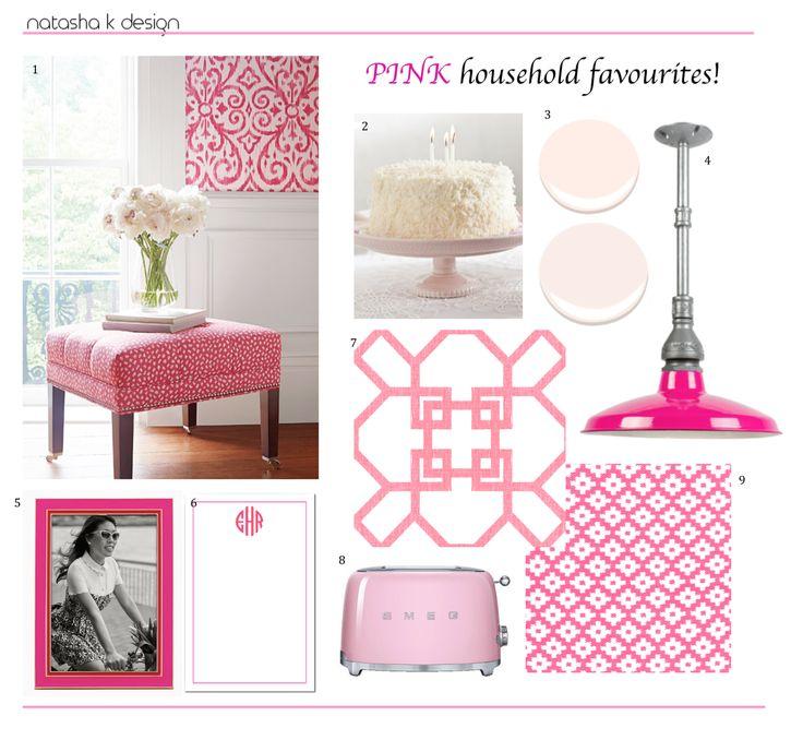 My favourite Pink household items!  www.natashakdesign.com