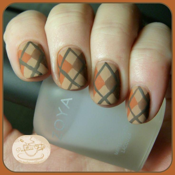 Autumn Argyle Nail Art | Pointless Cafe