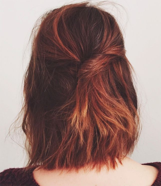 Digging this simple tease + twist look for short hair.