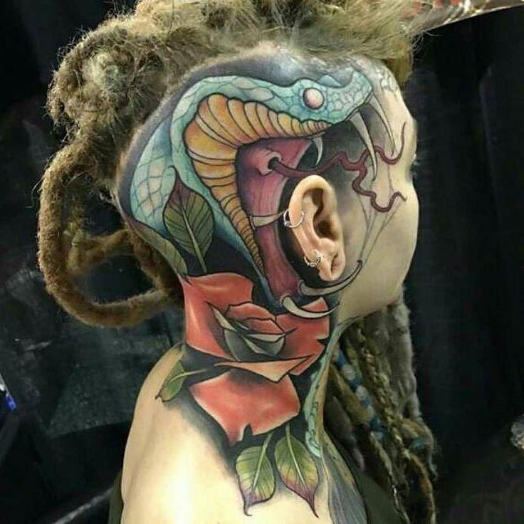Snake tattoo by @tattoosbyjes at @ironquilltattooin Madison WI #tattoosbyjes #jesstrickler #ironquilltattoo #madison #wisconsin #headtattoo #snaketattoo #tattoo #tattoos #tattoosnob