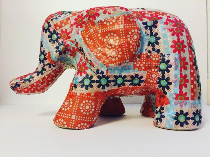 Elefant, decopage, färg, diy, pyssel