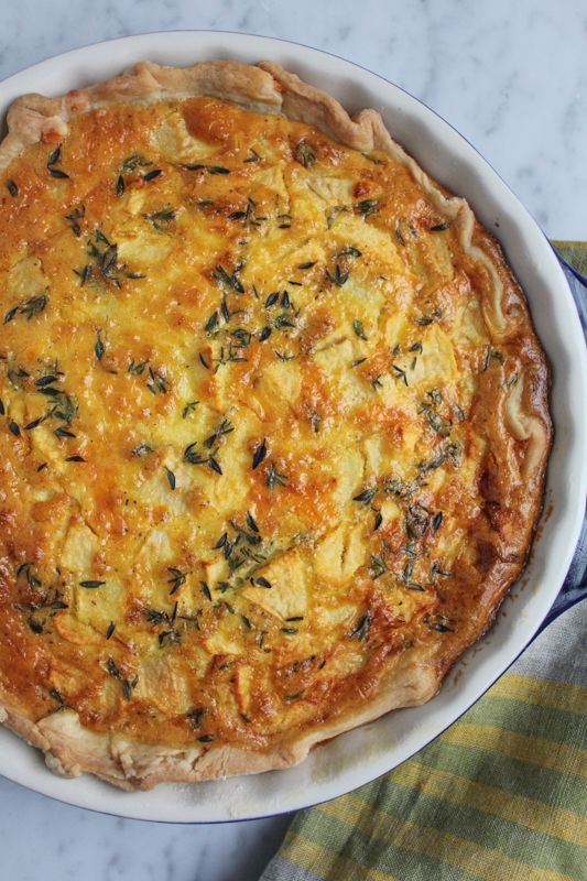 Apple, Cheddar, and Thyme Quiche with Olive Oil Pastry Crust