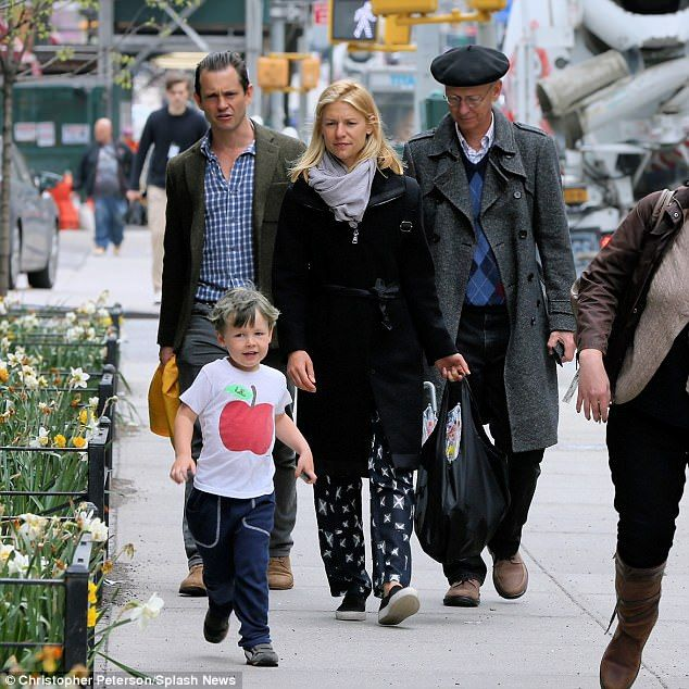 Quartet: Claire Danes was joined by her husband Hugh Dancy, their son Cyrus and Hugh's father Jonathan Dancy on a stroll in New York City on Friday