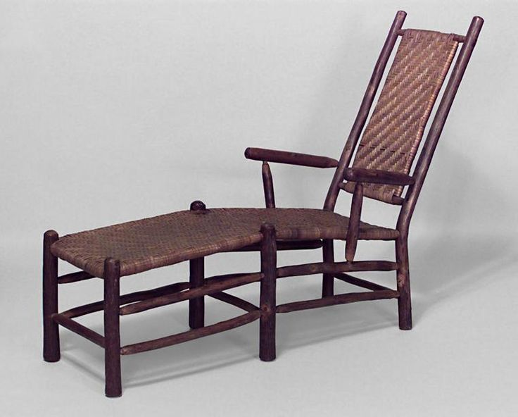 rustic old hickory chaise lounge with rattan splat u0026 seat on legs joined by a box stretcher c branded rustic hickory furniture co laporte ind - Old Hickory Furniture