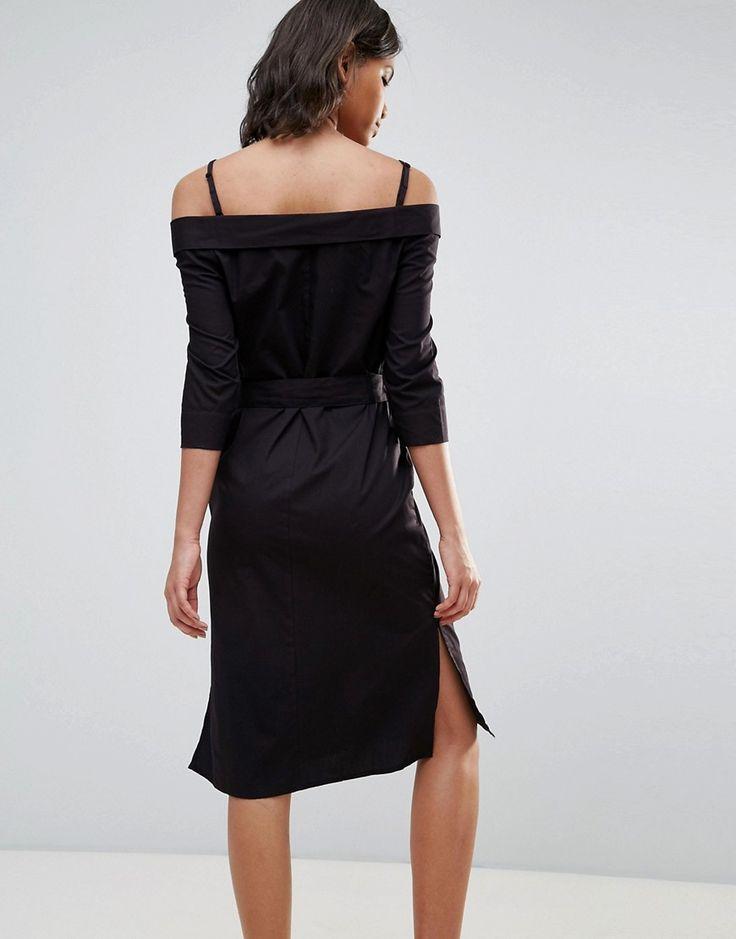 Neon Rose Black Cotton Off The Shoulder Bardot Midi Dress - Black