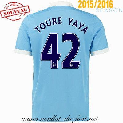 boutique football Maillot de foot Manchester City Yaya Toure 42 Domicile 2015 2016 pas chere