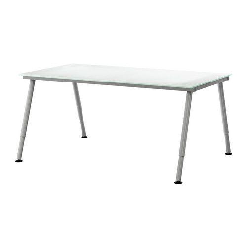 GALANT Skrivbord - glas vit, A-ben, silverfärgad  - IKEA