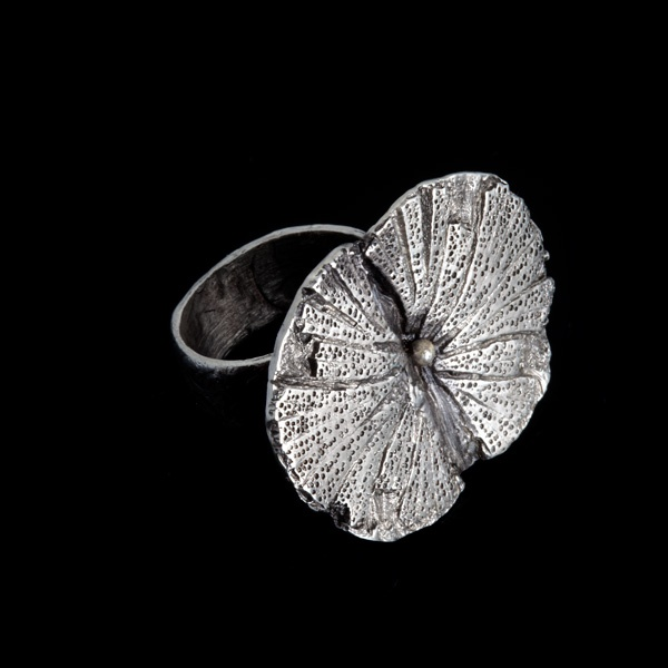 my flower...  fine silver ring