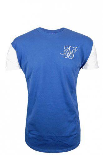 Sik Silk Curved Hem T-Shirt Blue