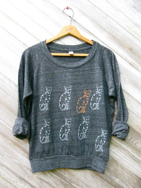 nine lives Cat Pullover, Cat Sweater, Kitty Shirt, Slouchy Pullover, S,M,L,XL. $34.00, via Etsy.