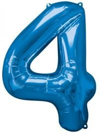 4 Sayısı Mavi, Supershape Folyo Balon Uçan balon, balon buketi için www.partipaketi.com