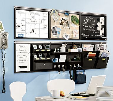 Home Office - stay organised and clean by putting pencil holders, etc. on the wall, instead of on the desk.