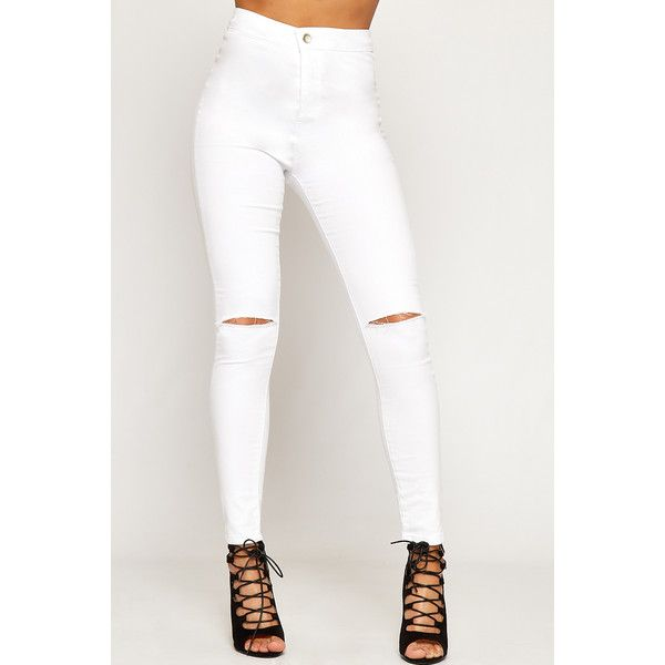 WearAll High Waisted Ripped Knee Skinny Jeans (165 HRK) ❤ liked on Polyvore featuring jeans, white, ripped jeans, super skinny jeans, white skinny jeans, white high waisted jeans and high waisted ripped skinny jeans