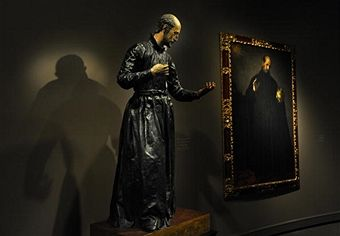 A sculpture by Juan Martinez Montanes (squiggly over the N and accent over the E in the last name) and Francisco Pacheco of Saint Francis Borgia circa 1624 is paired with the Alonso Cano painting of the same name painted in 1624.