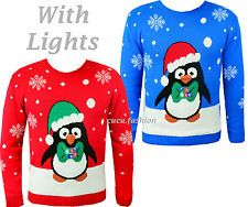 Lighted Christmas penguin sweaters - this is too much even for me!