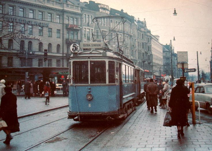 A Stockholm tram on line 5 at Stureplan, early sixties.