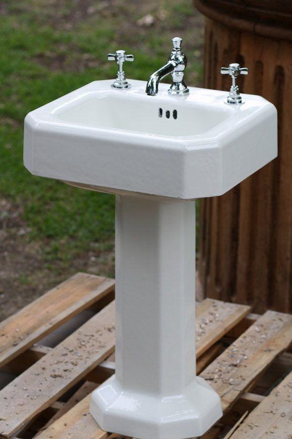 Vintage 1938 Kohler Porcelain Cast Iron Pedestal Sink by readytore, $ ...