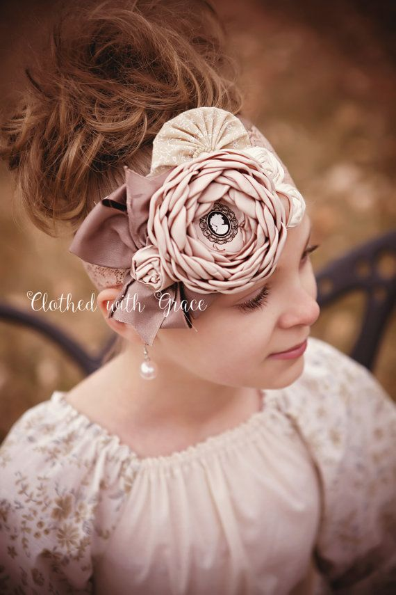 Light Mocha Headband-Singed Flower Headband, OTT, Couture, Photo prop, Birthday Headband, Vintage Headband