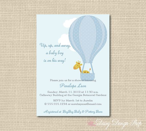 Baby Shower Invitation Hot Air Balloon And By Daisydesign 1 65 Party Pinterest Invitations