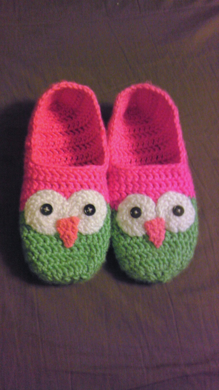 Crochet owl slippers. this pattern for the slippers: http://zoomyummy.com/2011/01/21/how-to-make-simple-crochet-slippers/ and then just make the eyes and beak separately