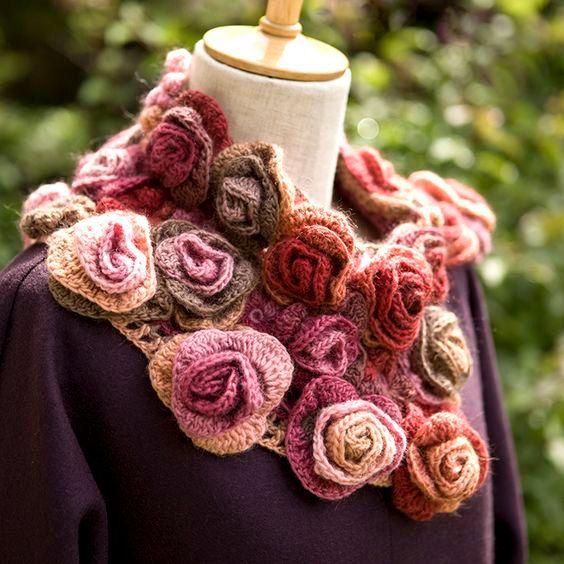 Rosa collar de boa partido bufanda punto rosas angora