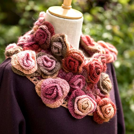 Scarf knitted roses angora boho style hand knitting por AlisaSonya