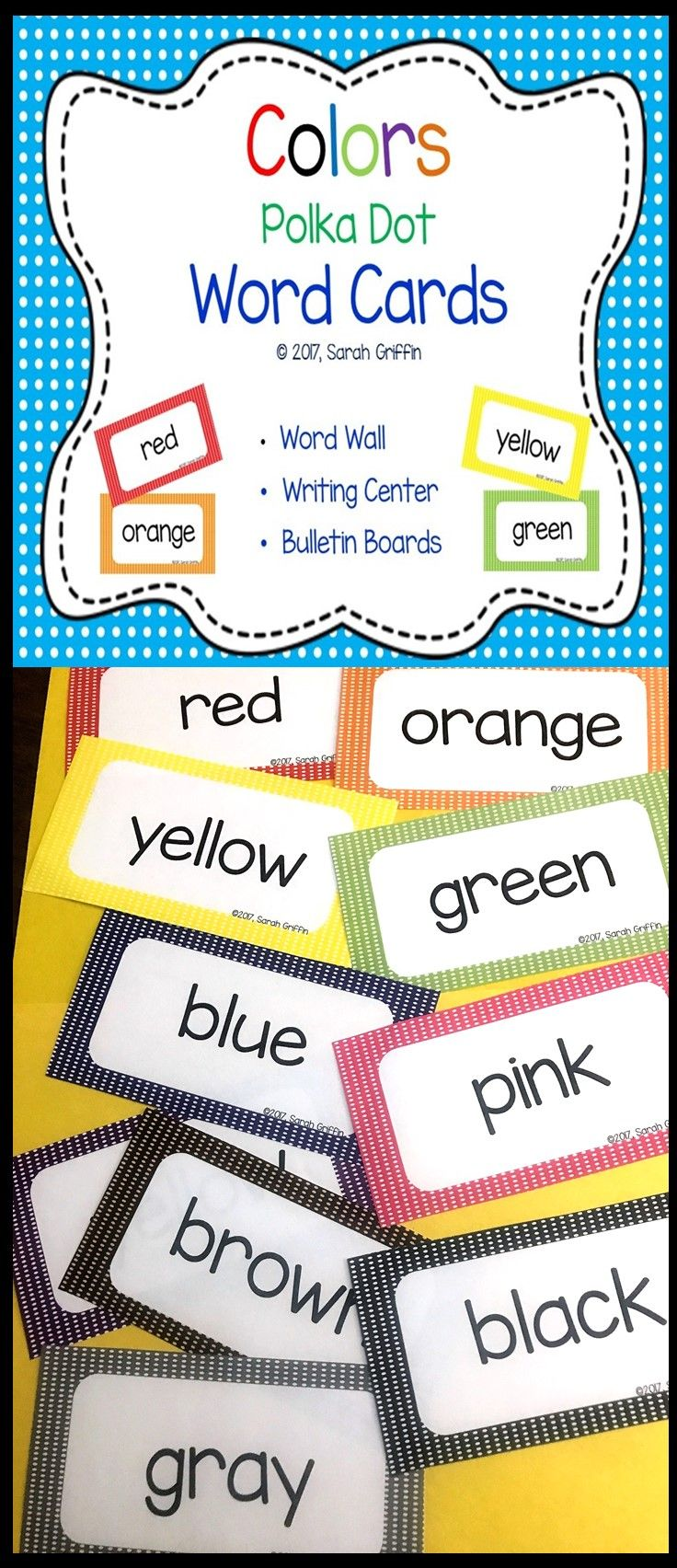 Color words word wall polka dot writing center for Bulletin board template word