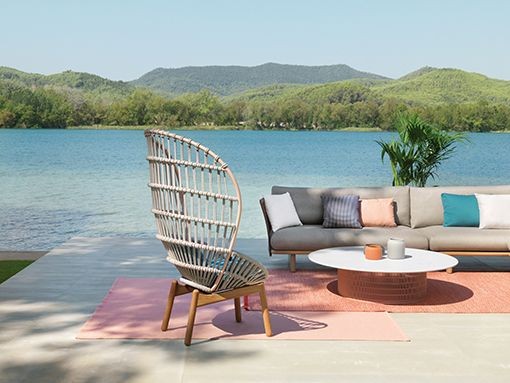 A KETTAL Outdoor Ambience With The KETTAL CALA Armchair By Doshi Levien  #spainfurniture #spaindesign