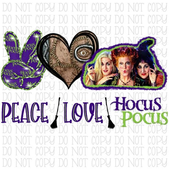 Peace Love Hocus Pocus Witches Sanderson Sisters Book Sublimation Transfer Png File Instant Peace And Love Sisters Book My Images