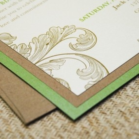 Vintage Flourish Wedding Invitation- Layers of ivory shimmer, shamrock green and brown kraft papers make this the perfect invite for a late summer wedding with a vintage and elegant feel.